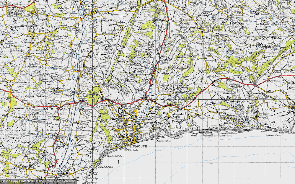 Old Map of Sidford, 1946 in 1946