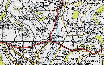 Old map of Sidford in 1946