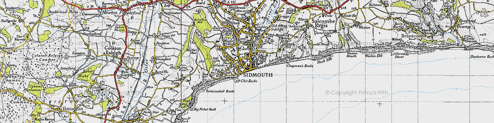 Old map of Sidmouth in 1946
