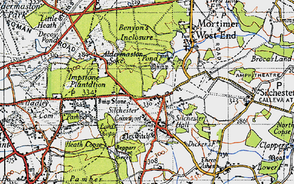 Old map of Silchester in 1945