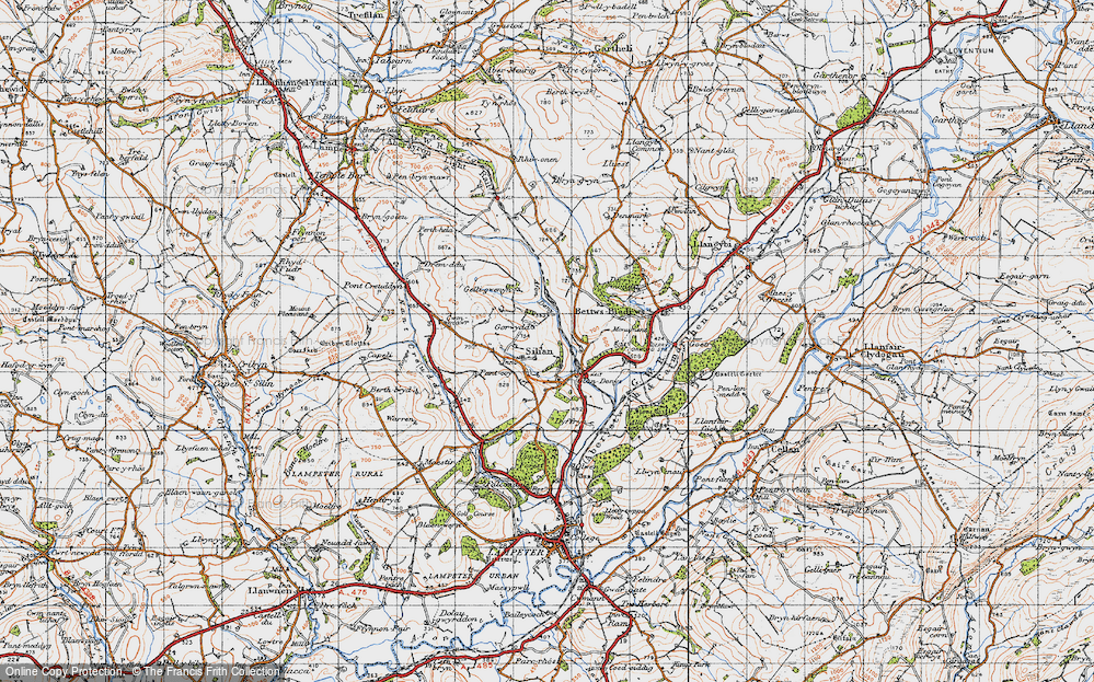 Old Map of Historic Map covering Afon Denys in 1947