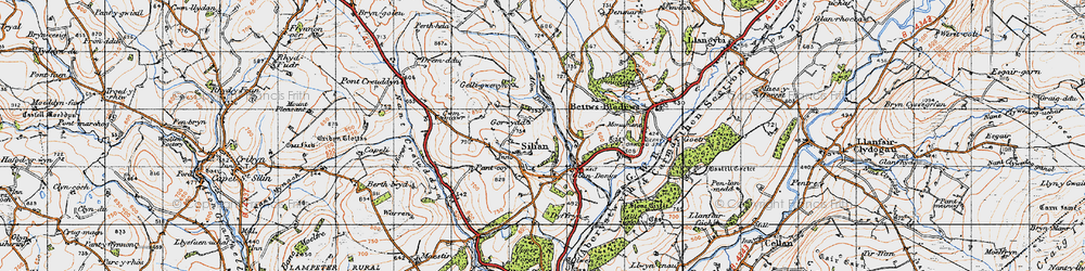 Old map of Afon Denys in 1947