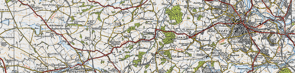 Old map of Silkstone in 1947