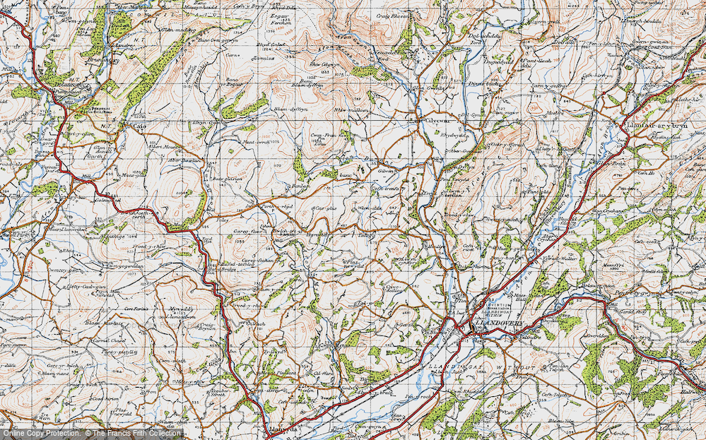 Old Map of Historic Map covering Afon Mynys in 1947