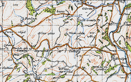 Old map of Afon Dunant in 1947