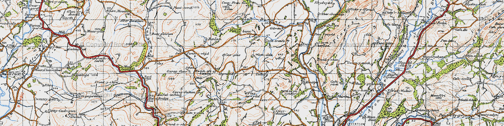 Old map of Afon Mynys in 1947