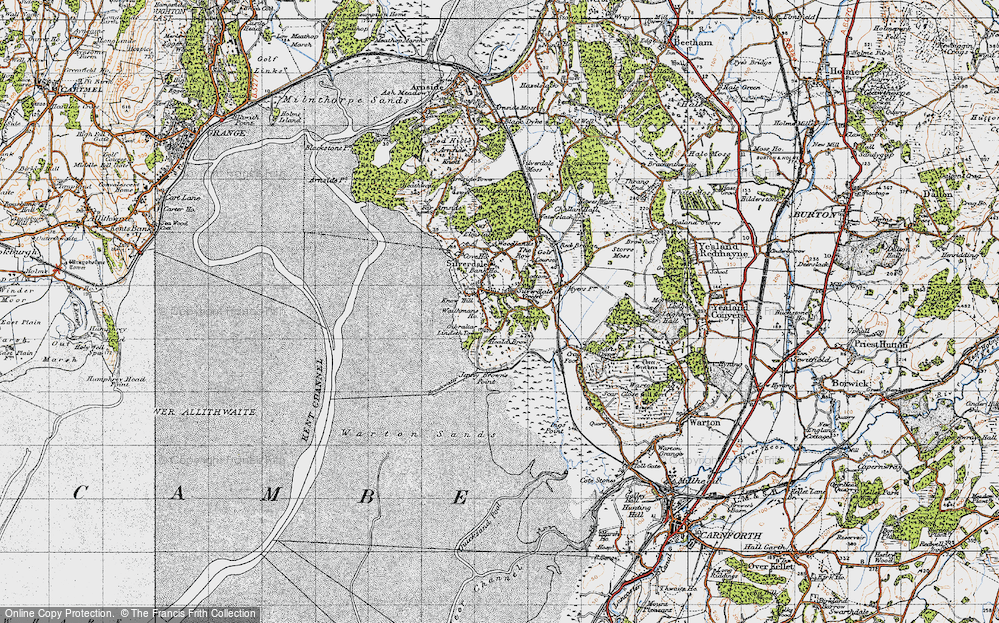 Old Map of Historic Map covering Lindeth Twr in 1947