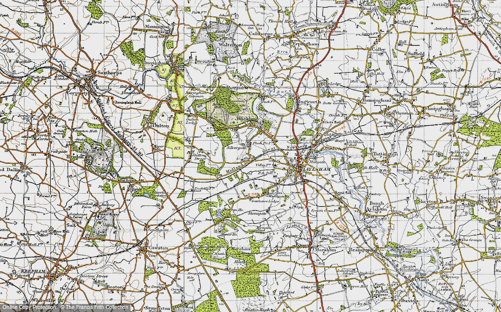 Old Map of Historic Map covering Woodgate Ho in 1945
