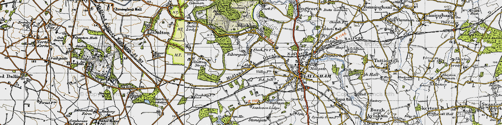 Old map of Abel Heath in 1945