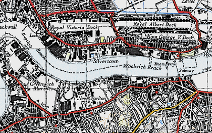 Old map of Silvertown in 1946
