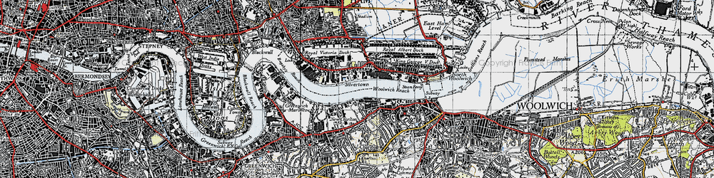 Old map of Woolwich Reach in 1946