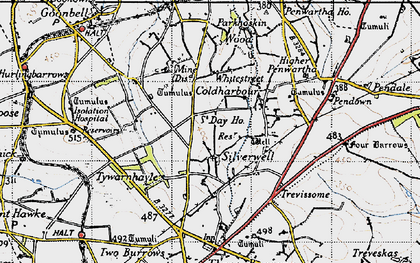Old map of Silverwell in 1946