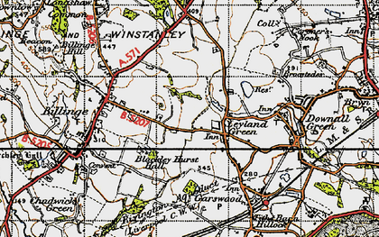 Old map of Simm's Lane End in 1947