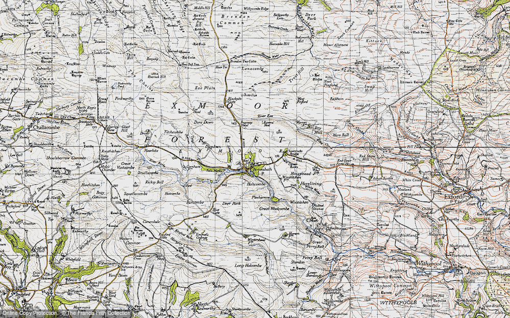 Old Map of Historic Map covering Lime Combe in 1946