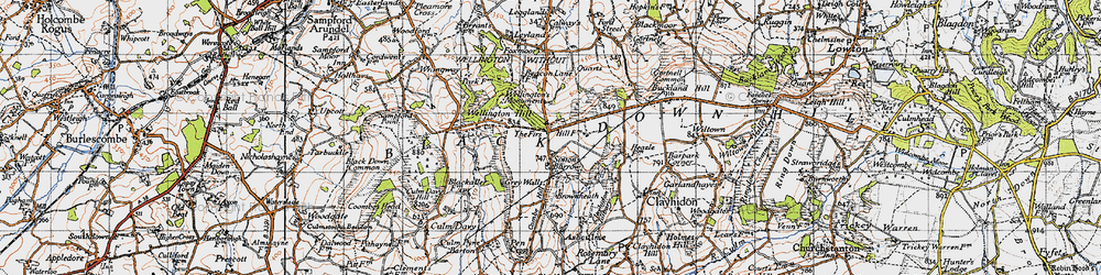 Old map of Whitehams in 1946