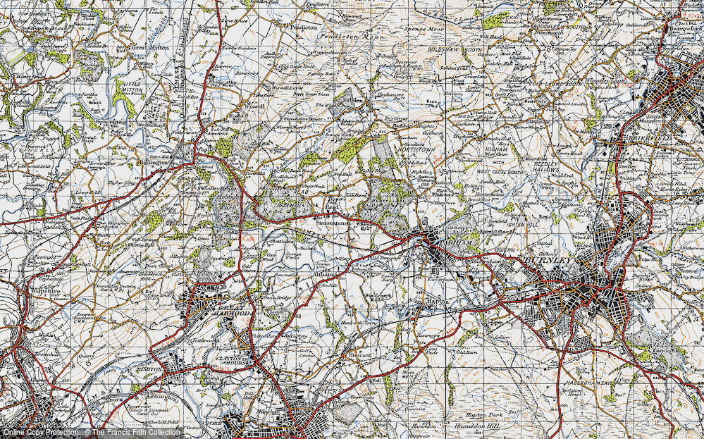 Old Map of Historic Map covering Altham Br in 1947