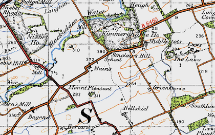 Old map of Whitsome Laws in 1947