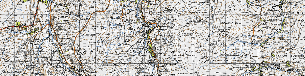 Old map of Acton Burn in 1947
