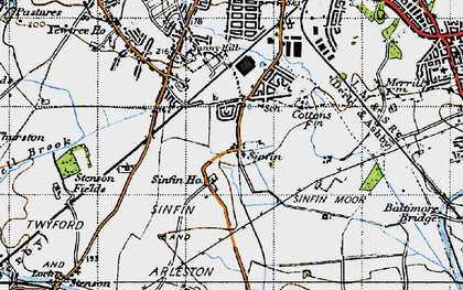 Old map of Sinfin in 1946