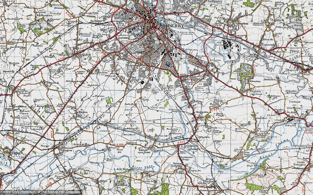 Old Map of Sinfin Moor, 1946 in 1946
