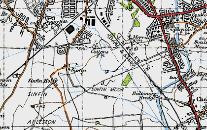Old map of Sinfin Moor in 1946