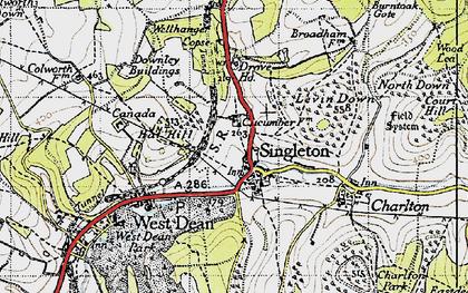 Old map of Singleton in 1945