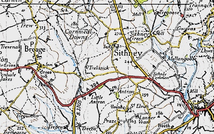 Old map of Sithney in 1946