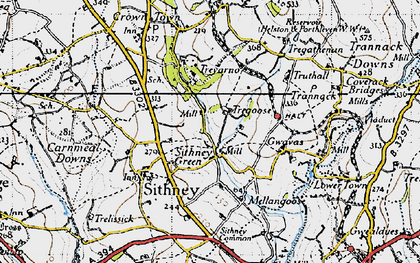 Old map of Sithney Green in 1946