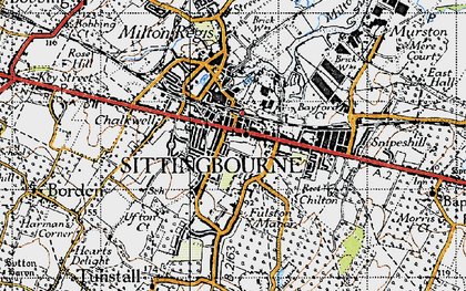 Old map of Sittingbourne in 1946