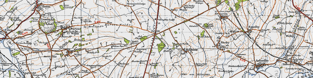 Old map of Willoughby Lodge in 1946