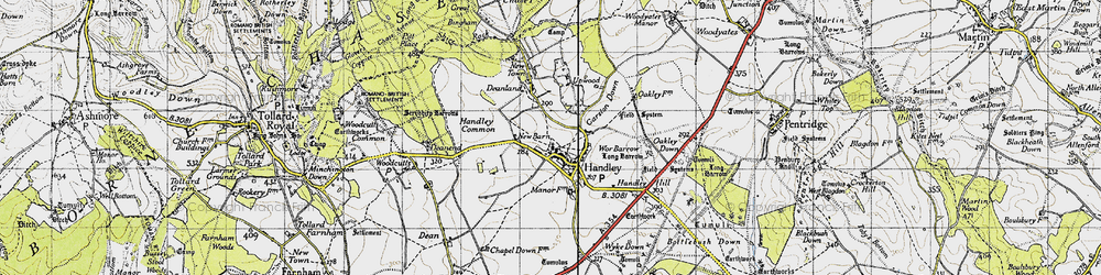 Old map of Wyke Down in 1940