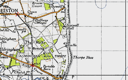 Old map of Sizewell in 1946