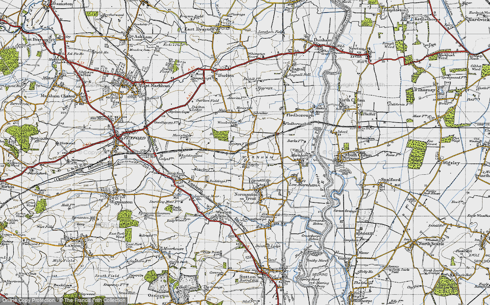 Old Map of Historic Map covering Woodcoates in 1947