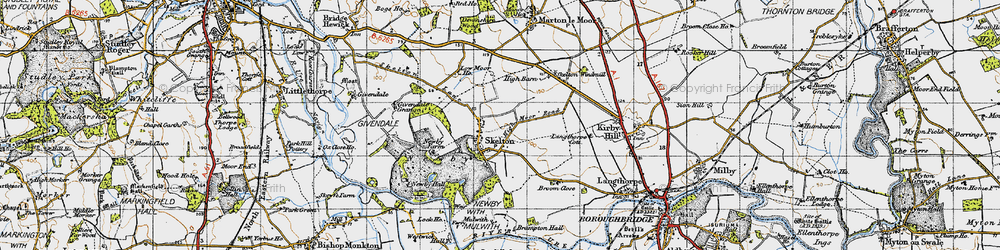Old map of Skelton on Ure in 1947