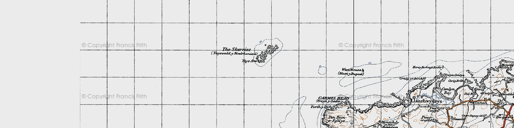 Old map of Ynys Arw in 1947