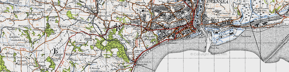 Old map of Sketty in 1947
