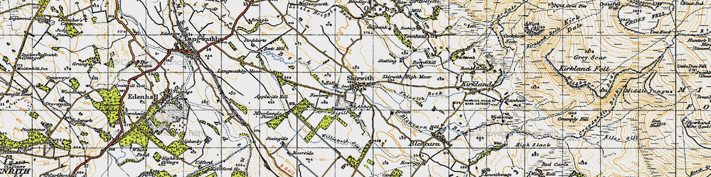 Old map of Aigill Sike in 1947