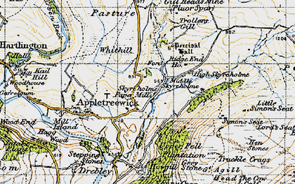 Old map of Whithill in 1947