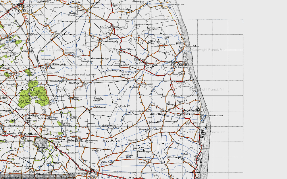 Old Map of Historic Map covering Wyche in 1946