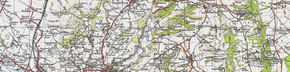 Old map of Slad in 1946
