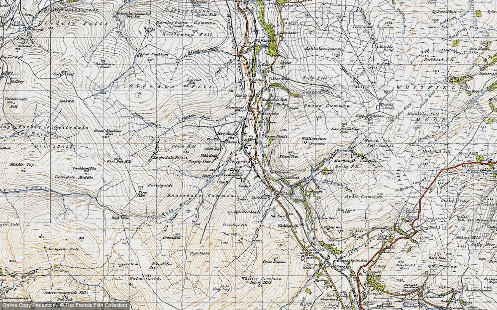 Old Map of Historic Map covering Barhaugh Burn in 1947