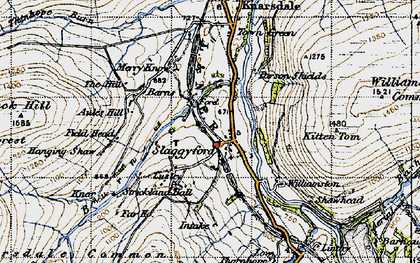 Old map of Aules Hill in 1947