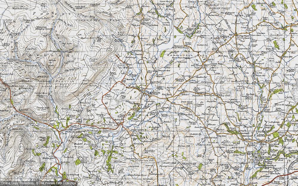 Old Map of Slaidburn, 1947 in 1947