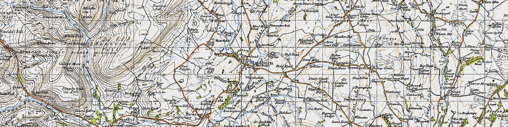 Old map of Whiteholme in 1947