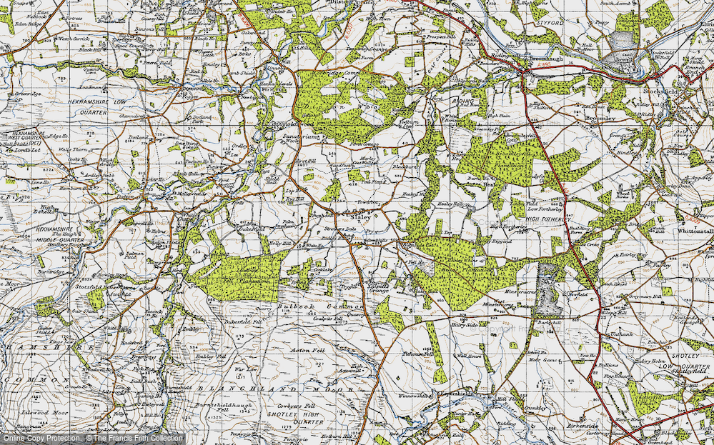 Old Map of Historic Map covering Todburn Steel in 1947