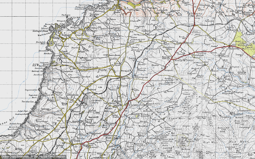 Old Map of Historic Map covering Arthurian Centre in 1946