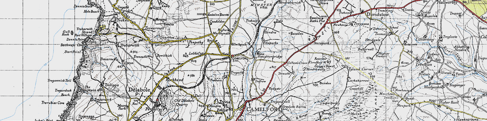 Old map of Worthyvale Manor in 1946