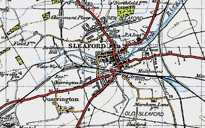 Old map of Sleaford in 1946