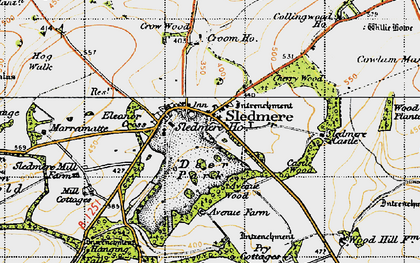 Old map of Sledmere in 1947