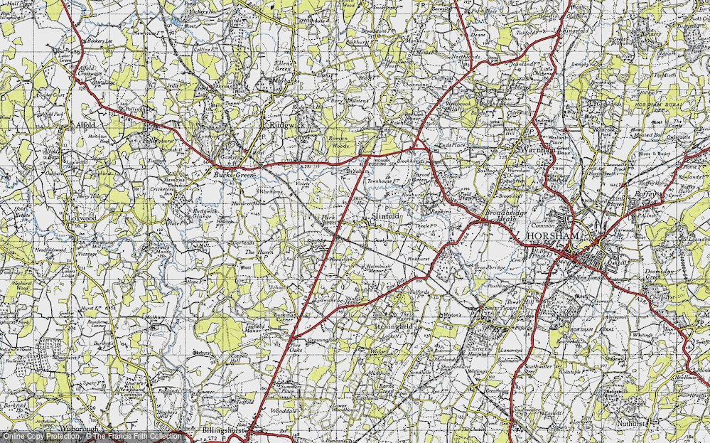 Old Map of Historic Map covering Woodstock in 1940